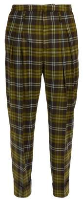 Connolly - High Rise Check Wool Trousers - Mens - Green