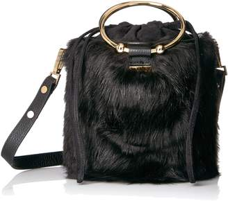 Milly Faux Fur Drawstring Bucket Bucket Bag