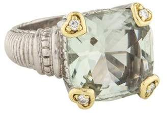 Judith Ripka Prasiolite & Diamond Ring