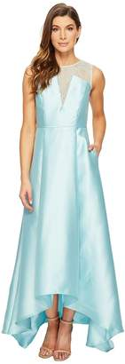Adrianna Papell Lace Bodice Yoke and Mikado Combo Ball Gown Women's Dress