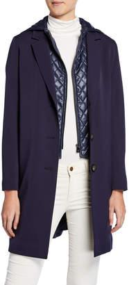 Cinzia Rocca Wool Coat w/ Quilted Hood & Bib, Navy