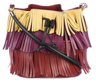 Sara Battaglia Fringe Leather Bucket Bag