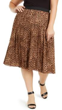 Charter Club Plus Size Animal-Print Pleated Midi Skirt, Created for Macy's