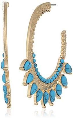 Danielle Nicole Golden Burst Turquoise Hoop Earrings