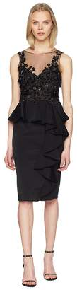 Marchesa Sleeveless Embroidered Stretch Faille Cocktail w/ 3D Beading and Ruffles Women's Dress