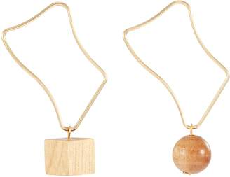 Sophie Monet 'The Kite' wood drop mismatched abstract hoop earrings
