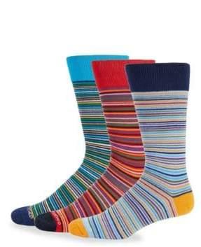 Three-Pack Stripe Crew Socks