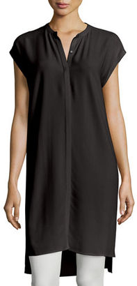 Eileen Fisher Cap-Sleeve Silk Georgette Layering Dress, Petite $298 thestylecure.com