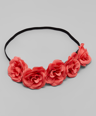 Coral Pink Flower Crown Headband