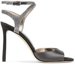 Jimmy Choo Helen 100 Satin Suede And Glittered Leather Sandals