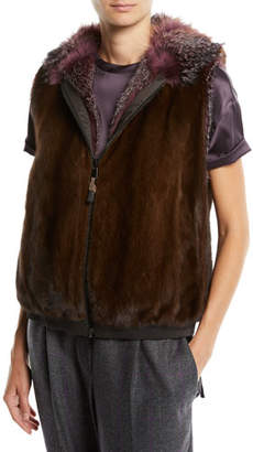 Brunello Cucinelli Reversible Fox & Mink Fur Vest