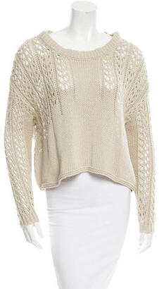 Minnie Rose Open Knit Scoop Neck Sweater $75 thestylecure.com