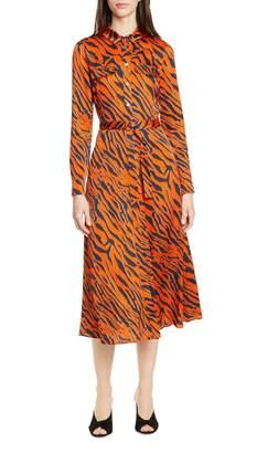 Karen Millen Long Sleeve Tiger Print Shirtdress
