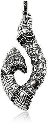 Thomas Sabo Blackened Sterling Silver Maori Hook Pendant w/Black Zirconia
