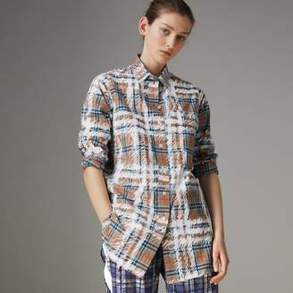 Burberry Scribble Check Cotton Stepped-hem Shirt