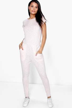 boohoo Ribbed Capped Sleeve Casual Jumpsuit