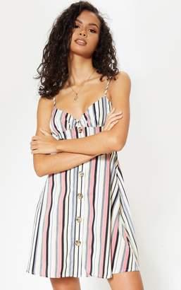 PrettyLittleThing Cream Stripe Button Front Shift Dress