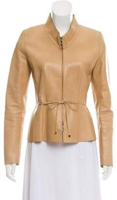 Gucci Leather Belted Jacket