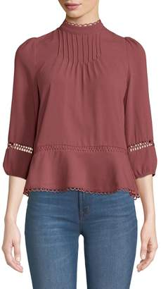 Moon River Lace-Embroidered Mock-Neck Chiffon Blouse