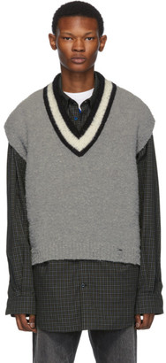Off-White Grey and Wool Varsity Sleeveless Sweater