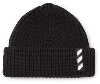 Off-White Off White Logo-Embroidered Ribbed Wool Beanie - Black