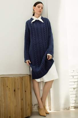 Genuine People Cable Knit Sweater Dress