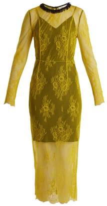 Diane Von Furstenberg - Long Sleeved Bead Embellished Lace Dress - Womens - Yellow