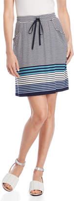 Max Studio Petite Striped Drawstring Skirt