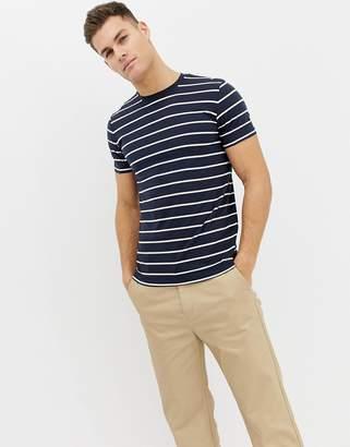 Selected yarn dye stripe t-shirt
