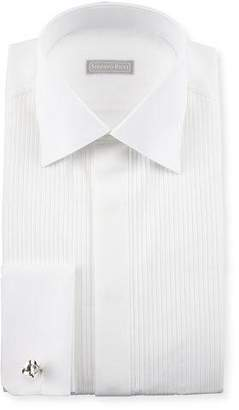 Stefano Ricci Basic Pleated French-Cuff Tuxedo Shirt, White