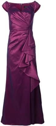 Tadashi Shoji ruffled panel gown