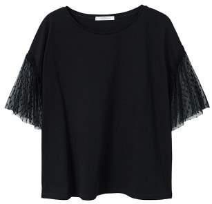 Violeta BY MANGO Plumeti sleeve t-shirt