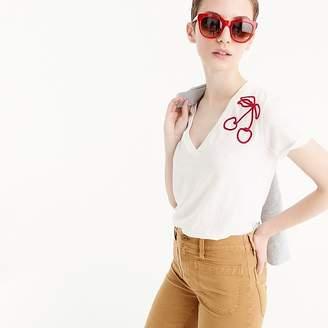 J.Crew Cherry-embroidered V-neck T-shirt