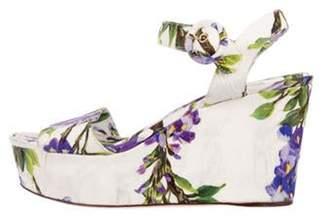 Dolce & Gabbana Wisteria Jacquard Wedge Sandals Purple Wisteria Jacquard Wedge Sandals