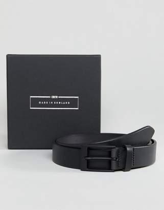 Asos DESIGN Made In England Smart Slim Belt In Black Leather