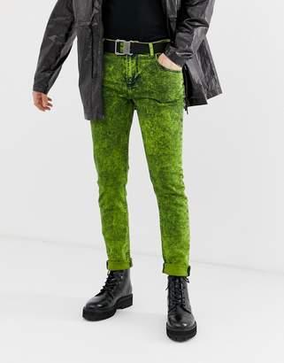 Asos Design DESIGN skinny jeans in acid wash lime green