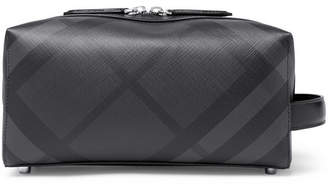 Burberry Checked Leather-Trimmed Textured-PVC Wash Bag