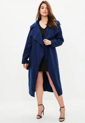 Missguided Curve Navy Tailored Waterfall Coat