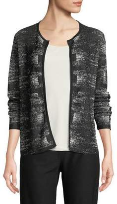Eileen Fisher Graphic-Knit Linen-Blend Cardigan, Plus Size