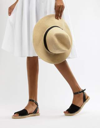 South Beach Black Ankle Strap Espadrilles