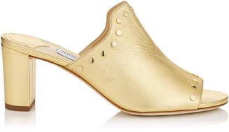 Jimmy Choo MYLA 65 Roman Gold Metallic Nappa Mules with Gold Studs