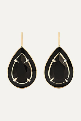 Alison Lou 14-karat Gold And Enamel Onyx Earrings