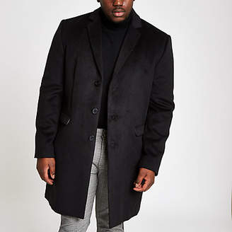 River Island Big and Tall black button-down overcoat