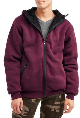 Generic Men's Sherpa Line Space Dye Full Zip Hooded Jacket, Up to size 5XL
