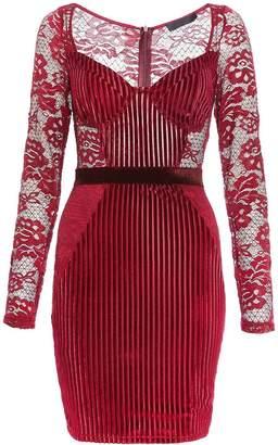 Quiz TOWIE Berry Velvet Lace Bodycon Dress