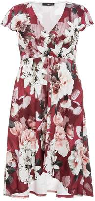 Quiz Curve Berry, Grey And Pink Floral Wrap Dress