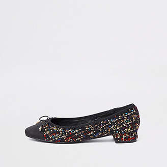 River Island Black broderie bow ballet flats