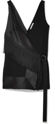Cheyanne Fringed Crepe And Silk-blend Satin Top - Black