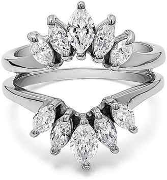 Twobirch Cubic Zirconia Mounted In Sterling Silver Marquise Ring Guard Enhancer For Pear Shaped Solitaire (1.86ctw)