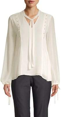 Ellen Tracy Petite Beaded Long Sleeve Blouse
